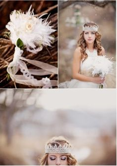Ignore the girl...I just like the Enchanting Winter Wedding Feather Flowers.