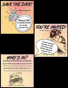 Fun Casual Retro Comic Book Wedding Invitation Suite - Invitation, Save the Date, RSVP Card - Printable or Printed #sweetsassydesigns #etsy