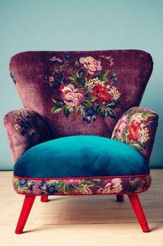 fauteuil patchwork, tissus vintages pour habiller une chaise ancienne