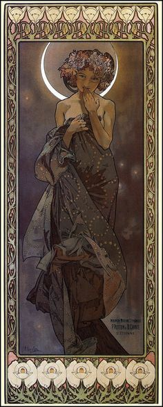 The Moon by Alphonse Mucha (born Alfons Maria Mucha) (1860-1939)  http://www.muchafoundation.org/