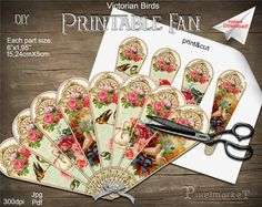 Printable Victorian HAND FAN Template Diy Papercraft Instant Download Birds Hand Fan Clip Art Digital Collage Sheet Scrapbooking Swan k11