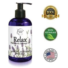 Amazon.com: Relax Therapeutic Body Massage Oil - Contains Best Essential Oils for Sore Muscles & Stiffness - Lavender, Peppermint & Marjoram - All Natural - With Sweet Almond, Grapeseed & Jojoba Oil 8.5oz: Health & Personal Care Massage Tips, Massage Benefits, Massage Techniques, Massage Therapy, Essential Oils For Massage, Best Essential Oils, Essential Oil Blends, Massage Treatment, Essential Oils