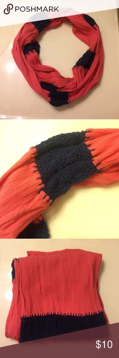 Two tone infinity loop scarf One size. Navy blue Accessories