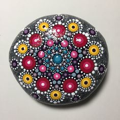 Hand Painted Mandala Stone, Mandala Meditation Stone, Dot Art Stone, Healing Stone, #371 by MafaStones on Etsy