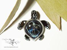 Night Lightning Turtle - Glass Art Pendant by Creative Flow Glass