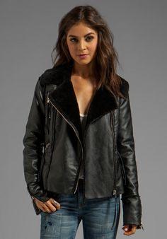 BLANKNYC Shearling Moto Jacket in Black Light...Love