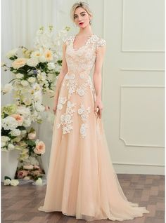 A-Line/Princess V-neck Sweep Train Zipper Up Cap Straps Sleeveless Beach General Plus No Winter Spring Summer Fall Other Colors Tulle Lace Height:5.7ft Bust:33in Waist:24in Hips:34in US 2 / UK 6 / EU 32 Wedding Dress