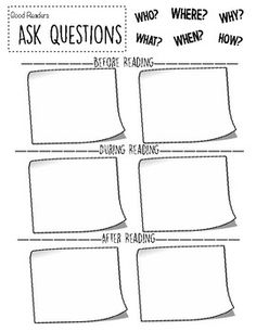 This is a great resource to use during lessons on teaching students to ask questions while reading. It gives students a visual of all the question words, as well as space to jot down some questions they have before, during, and after reading. Reading Lessons, Reading Resources, Reading Activities, Reading Skills, Guided Reading, Teaching Reading, Reading Centers, Third Grade Reading, Second Grade