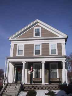 Example of full return. Note that the attic window is too big. Historical Architecture, Residential Architecture, Greek Revival Home, Porch Windows, Southern Living House Plans, Gable Roof, Entry Doors, Front Doors, Historic Homes