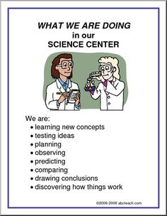 What We Are Doing Sign: Science Center - A list of science center objectives