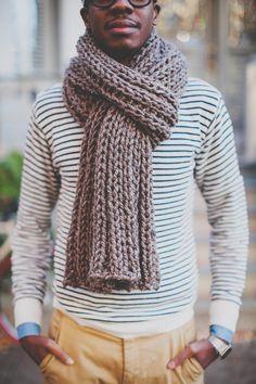 Cozy hand-knit scarf.