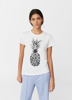 T-shirt algodão estampada | Mango