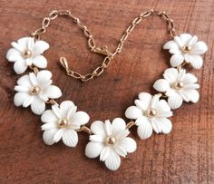 White Flower Necklace   Vintage Gold Tone Choker by MaejeanVINTAGE, $18.00