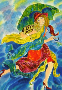 Rainy Day ~ Yelena Sidorova; running in the rain, act, green & blue umbrella
