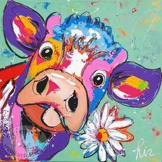 """Handgeschilderd schilderij """" Koe mint """" Formaat 60 x 60"""