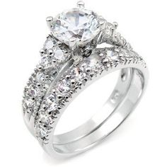 Sterling Silver Cubic Zirconia CZ Wedding Engagement Ring Set by ohhjewelry