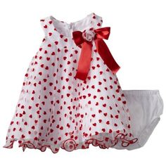 Baby girl clothes#Bonnie Baby Girls Newborn Red Heart Crystal Pleat Dress, Red, 3-6 Months
