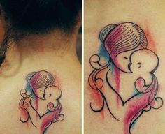Mother baby tattoo