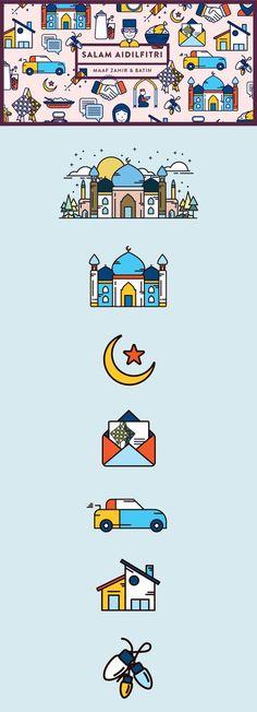 Hari Raya Aidilfitri — Illustrations on Behance Web Design, Line Design, Icon Design, Flat Design, Ied Mubarak, Eid Mubarak Card, Cute Illustration, Graphic Design Illustration, Ramadan Kareem Vector