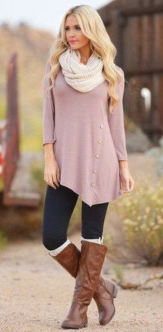 #winter #outfits beige long-sleeve top and black pants