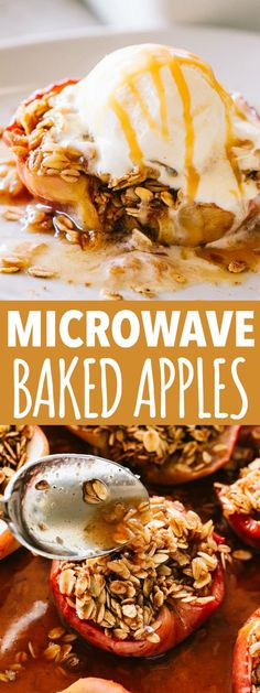 Microwave Baked Apples - Delicious, juicy, classic baked apples filled with a sw. Microwave Baked Apples - Delicious, juicy, classic baked apples filled with a sweet oats mixture and prepared in the microwave in just minutes! via Katerina Microwave Baked Apples, Baked Apples Healthy, Healthy Apple Desserts, Baked Apple Dessert, Apple Recipes Easy, Microwave Baking, Apple Dessert Recipes, Microwave Recipes, Fruit Recipes
