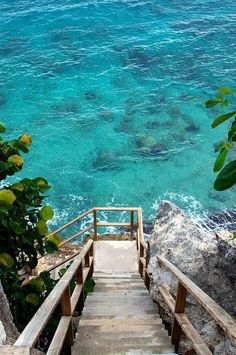 Stairs to the ocean, Curacao, #Caribbean. Someday when i'm married to a rich man i will be walking down these stairs!