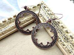 Copper round hoop filigree earrings with copper ear wire. Victorian Boho Bohemian gypsy jewelry. Handmade Jewelry jewellery.