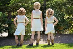Country wedding flower girls, awe Aspen and Emma would look so cute in cowgirl boots and a white dress with a jean vest!!