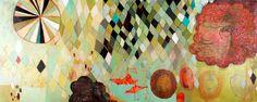 """Argyle Pattern Theory  (c) Barbara Gilhooly  acrylic, carving on wood panel  24"""" x 60"""""""