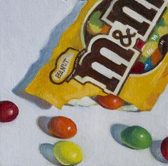 M oil on linen panel. Robin Neudorfer # Food and Drink art colour M&M's Pencil Art Drawings, Cool Art Drawings, Realistic Drawings, Colorful Drawings, Art Drawings Sketches, Candy Drawing, Food Drawing, Gcse Art Sketchbook, Candy Art