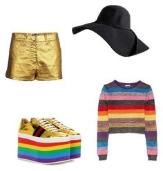 """""""rainbow gold"""" by melziggy-mb on Polyvore featuring Gucci, Chanel and Miu Miu"""