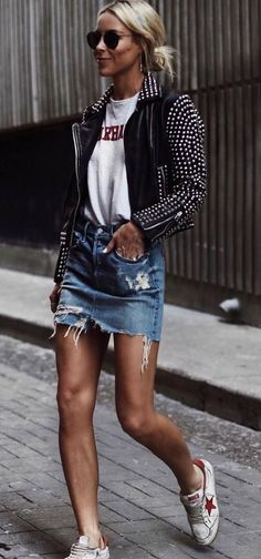 what to wear with a denim skirt : biker jacket + tee + sneakers