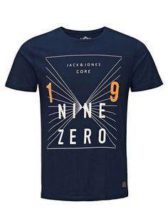 GRAPHIC PRINT T-SHIRT, Navy Blazer, main T Shirt Fonts, Cool Shirt Designs, Shirt Pins, Surf Wear, Jack Jones, Mens Tees, Cool T Shirts, Boy Outfits, Printed Shirts