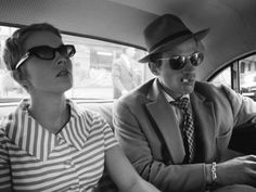 Jean Seberg and Jean-Paul Belmondo on the set of À bout de souffle.