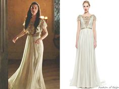 """fashion-of-reign: """" In the episode 2x14 (The End of Mourning) Queen Mary wears this stunning Marchesa Hand-Pleated Silver Foil Embroidered Chiffon Gown ($9,950.00 $2,985.00). Worn with Erickson Beamon..."""
