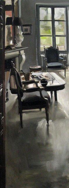 LES FAUTEUILS DU GRAND SALON  Huile sur toile  120 x 40  cm / Oil on canvas  47,2 x 15,7  inches  Vendue