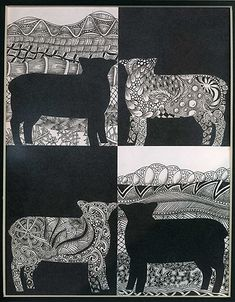 Zentangle + positive/negative space - have them choose the shape - finally, an interesting way to teach neg/pos space...