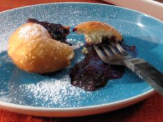 Beignets with Quick Homemade Blackberry Jam recipe from Bobby Flay via Food Network