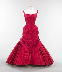 """""""Tree"""" evening dress, 1955 Charles James (American) Silk: rose pink taffeta; white satin; synthetic: red, pink, and white tulle"""