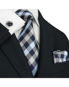 TheDapperTie - New Men's Blue Gray & White Checkered Silk Tie Set 90M  www.TheDapperTie.com