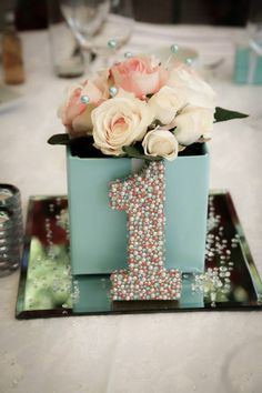 Tiffany and Coral Theme Table Decorations