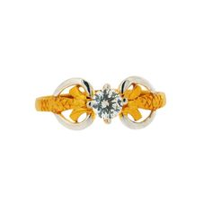 18K Yellow Gold with American Diamond Single Stone Crown Ring