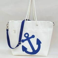 Sailcloth Zippered Tote with Blue Anchor Design Gifts For Sailors, Sailing Outfit, Wine Tote, Sewing Studio, Handbag Accessories, Tote Handbags, Cosmetic Bag, Tote Bag, Personalised Gifts