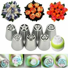 Decorating Tools, Cake Decorating, Russian Pastries, Russian Piping Tips, Icing Nozzles, Desserts With Biscuits, Cake Piping, Fresh Cream, Diy Cake