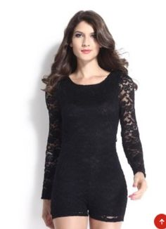 Black Sheer Lace Sleeve Back V-neck Cut Out Romper Playsuit | USTrendy www.ustrendy.com #UsTrendy