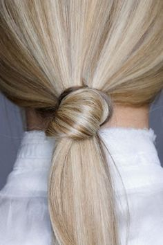 Knotted ponytail.         I don't get it: I have long enough hair, but it slips right back out :(