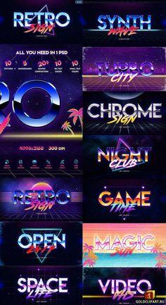 logo Retro Sign Creator Kit 22510362 Layered P - 80s Design, Text Design, Logo Design, Graphic Design, Portfolio Web Design, Web Design Agency, Web Design Company, 80s Logo, Retro Logos
