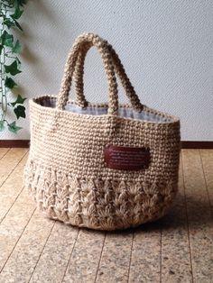 麻ひも 手さげバッグ 玉編み&こま編み 革プレ-ト画像1
