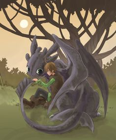 Hiccup and Toothless by t-jam.deviantart.com on @deviantART