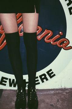 BrandyMelville Black Knee High Socks Found on my new favorite app Dote Shopping Knee High Socks Outfit, Black Knee High Socks, High Socks Outfits, Black Socks, Knee Socks, Hot Outfits, Winter Outfits, Winter Clothes, Dark Fashion